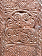 Plaster cast, Anglo-Saxon.  Cross-shaft, in stone, in Irton churchyard Cumbria, first half of the 9th century.