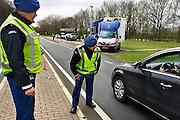 Nederland, Beek Ubbergen, 22-3-2014Extra grenscontrole op de n325 door de  Marechaussee aan de grens met Duitsland. Gebeurd ihkv de NSS, nuclear security summit.Foto: Flip Franssen/Hollandse Hoogte