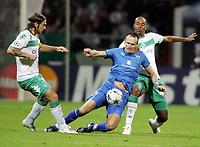 Fotball , Champions League , 16. september 2008<br />  Champions League Gruppenphase SV Werder Bremen - Anorthosis Famagusta<br /> v.l. Torsten Frings, Lukasz Sosin, Naldo Bremen<br /> <br /> <br /> Norway only