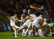 Exeter Chiefs scrum-half Nic White  puts up a clearance kick during the The Aviva Premiership match Sale Sharks -V- Exeter Chiefs  at The AJ Bell Stadium, Salford, Greater Manchester, England on Friday, October 27, 2017. (Steve Flynn/Image of Sport)