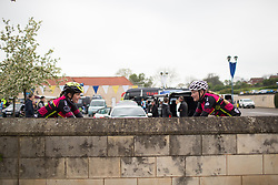 NCC Group-Kuota-Torelli Team riders warm up before the Tour de Yorkshire - a 122.5 km road race, between Tadcaster and Harrogate on April 29, 2017, in Yorkshire, United Kingdom.
