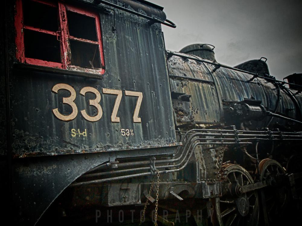 Retired steam locomotive at Steamtown, USA, National Park.