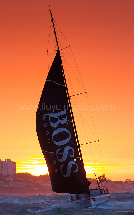 """British yachtsman Alex Thomson finishes 3rd in the solo non stop around the world yacht race """"The Vendee Globe"""". Les  Sables d Olonne. France...Pictures free for editorial use only please credit: Lloyd Images."""