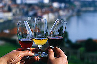 January 1998, Porto, Portugal --- Man Holding Varieties of Port-Wine --- Image by © Owen Franken/CORBIS