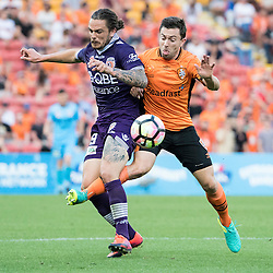 BRISBANE, AUSTRALIA - OCTOBER 30: Tommy Oar of the roar tackles Josh Risdon of the Glory during the round 4 Hyundai A-League match between the Brisbane Roar and Perth Glory at Suncorp Stadium on October 30, 2016 in Brisbane, Australia. (Photo by Patrick Kearney/Brisbane Roar)