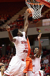 21 November 2015: Roland Griffin(35) gets his hand on a hand and the ball of the shooter. Illinois State Redbirds host the Houston Baptist Huskies at Redbird Arena in Normal Illinois (Photo by Alan Look)