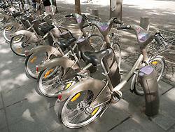 Bikes for Velib, public bicycle rental programme in Paris, France.