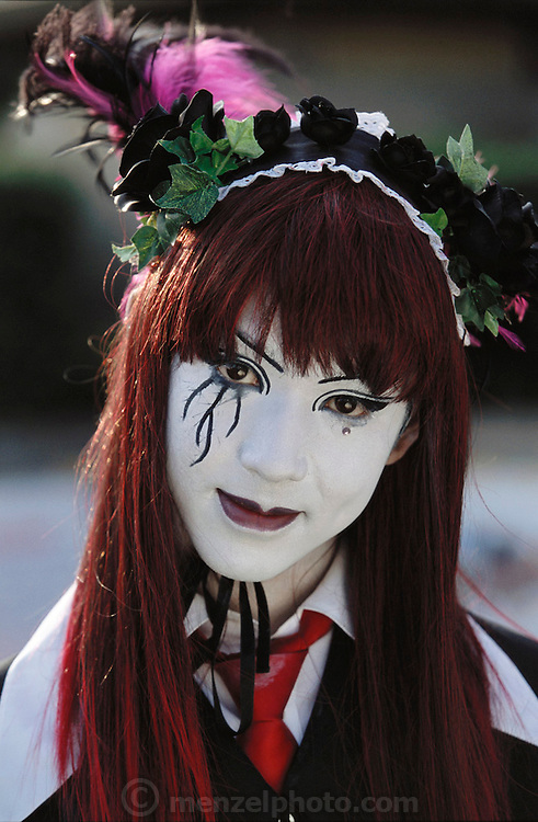 A teenage girl with white face at Harajuku.Tokyo, Japan.