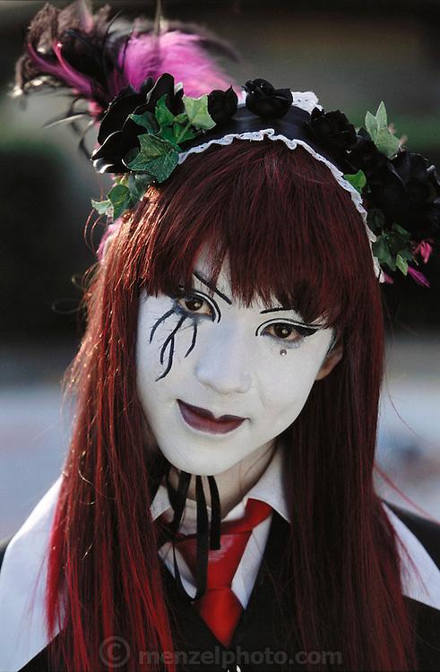 A teenage girl with white face at Harajuku.Tokyo, Japan.