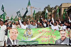 August 2, 2017 - Quetta, Pakistan - Leaders and activists of Muslim League (PML-N) march in support of former Prime Minister Muhammad Nawaz Sharif, held in Quetta. (Credit Image: © PPI via ZUMA Wire)