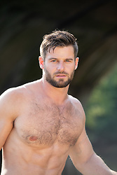 portrait of a good looking shirtless man with a beard and mustache
