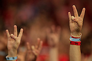 Aug 30, 2013; Houston, TX, USA; The Houston Cougars Paw hand sign is shown against the Southern Jaguars during the first half at Reliant Stadium. Mandatory Credit: Thomas Campbell-USA TODAY Sports