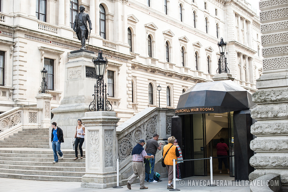 The entrance to the Churchill War Rooms in London. The museum, one of five branches of the Imerial War Museums, preserves the World War II underground command bunker used by British Prime Minister Winston Churchill. Its cramped quarters were constructed from a converting a storage basement in the Treasury Building in Whitehall, London. Being underground, and under an unusually sturdy building, the Cabinet War Rooms were afforded some protection from the bombs falling above during the Blitz.