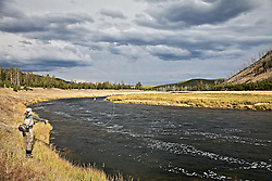 Fly Fishermen, Madsion River, stormy day, Yellowstone National Park