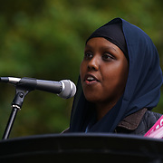 London, England, UK. 28th September 2017. Speaker Student activist of Stand Up against Racism protest and rally to demand Theresa May to Stop Trump and Kim Jong-Un Nuclear threat call for a peaceful solution.