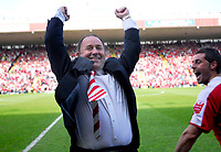 Photo: Leigh Quinnell.<br /> Bristol City v Rotherham United. Coca Cola League 1. 05/05/2007. Bristol City manager Gary Johnson celebrates winnin g promotion at the end of the game.
