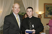 NATIONAL FOUNDATION FOR TEACHING ENTREPREUNEURSHIP (NFTE) BUSINESS PLAN AWARDS 2006<br />Pictured at the National Foundation for Teaching Entrepreneurship (NFTE) Business Plan Awards 2006, were His Excellency  Ambassador of the United States James C. Kenny presenting awards to Garreth Deveraux (16) from Ballymun (Garreths Workshop Wonders), at the U.S. Ambassador's Residence in Phoenix Park on May 4th 2006.<br />David's award winning business is Garreths Workshop Wonders, which designs and sells quality handmade bird boxes. The inspiration for Garreths business came from his love of woodwork and his plans to train as a carpenter.<br /><br />COMMISSIONED BY WEBER SHANDWICK *** Local Caption *** It is important to note that under the COPYRIGHT AND RELATED RIGHTS ACT 2000 the copyright of these photographs are the property of the photographer and they cannot be copied, scanned, reproduced or electronically stored in any form whatsoever without the written permission of the photographer