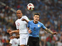 SOCHI, June 30, 2018  Joao Mario (L) of Portugal and Nahitan Nandez of Uruguay compete for a header during the 2018 FIFA World Cup round of 16 match between Uruguay and Portugal in Sochi, Russia, on June 30, 2018. Uruguay won 2-1 and advanced to the quarter-final. (Credit Image: © Liu Dawei/Xinhua via ZUMA Wire)