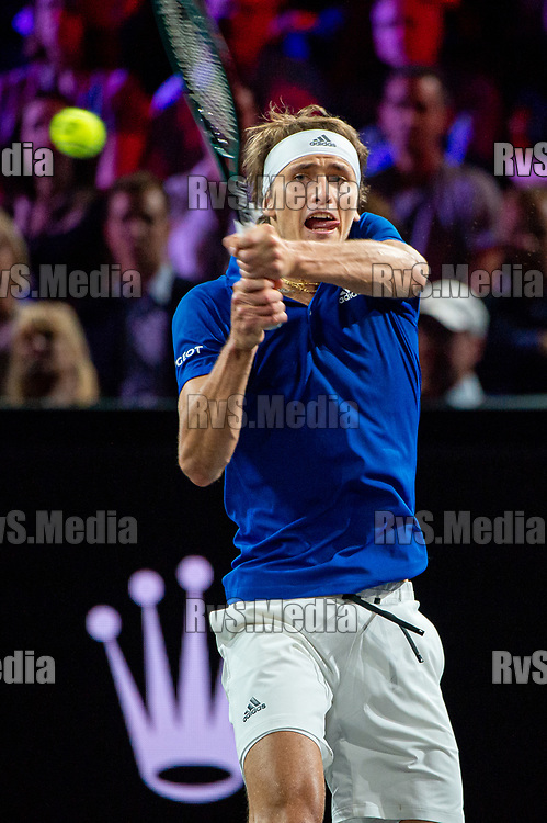 GENEVA, SWITZERLAND - SEPTEMBER 22: Alexander Zverev of Team Europe in action during Day 3 of the Laver Cup 2019 at Palexpo on September 20, 2019 in Geneva, Switzerland. The Laver Cup will see six players from the rest of the World competing against their counterparts from Europe. Team World is captained by John McEnroe and Team Europe is captained by Bjorn Borg. The tournament runs from September 20-22. (Photo by Robert Hradil/RvS.Media)
