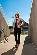 Nicki Moore, Colgate's new Vice President an Director of Athletics, poses for a portrait at the Andy Kerr Stadium, July 20, 2018 in Hamilton, N.Y.<br /> Mark DiOrio / Colgate University
