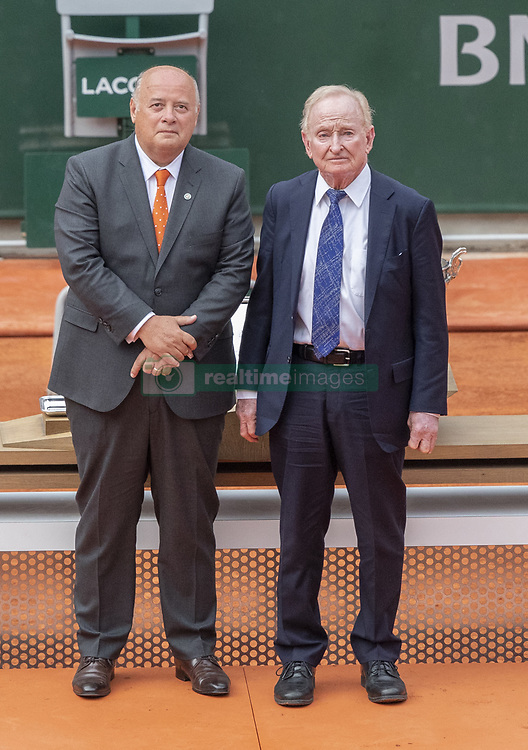 Bernard GIUDICELL and Rod LEVER, during the trophy ceremony of Ithe French Tennis Open Day 15 at Roland-Garros arena on June 09, 2019 in Paris, France. Photo by ABACAPRESS.COM