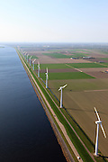 Nederland, Flevoland, Zeewolde, 01-05-2013; Wind farm De Zuidlob. Het windmolenpark (windpark) is een initiatief van  lokale agrariers / boeren en Nuon - Vattenfall. Windmolens staan in het gelid naast het Eemmeer.  .The wind farm in the polder Flevoland is an initiative of local farmers and Nuon - Vattenfall. Windmills in ranks next to the Eemmeer..Luchtfoto (toeslag op standard tarieven).aerial photo (additional fee required).copyright foto/photo Siebe Swart