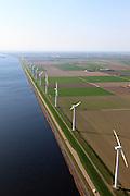 Nederland, Flevoland, Zeewolde, 01-05-2013; Wind farm De Zuidlob. Het windmolenpark (windpark) is een initiatief van  lokale agrariers / boeren en Nuon - Vattenfall. Windmolens staan in het gelid naast het Eemmeer.  .The wind farm in the polder Flevoland is an initiative of local farmers and Nuon - Vattenfall. Windmills in ranks next to the Eemmeer..Luchtfoto (toeslag op standard tarieven).aerial photo (additional fee required).copyright foto/photo Siebe Swart