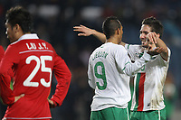 20100303: COIMBRA, PORTUGAL - Portugal vs China: International Friendly. In picture: Joao Moutinho and Liedson (Portugal) celebrating goal. PHOTO: CITYFILES