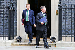 © Licensed to London News Pictures. 10/09/2019. London, UK. Secretary of State for Transport GRANT SHAPPS (L) and Justice Secretary ROBERT BUCKLAND QC (R) departs from No 10 Downing Street after attending the weekly Cabinet Meeting. Photo credit: Dinendra Haria/LNP