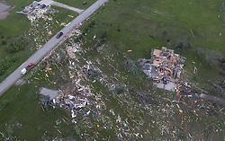 May 29, 2019, Linwood,  Kansas, U.S.: Debris from destroyed homes is strewn across yards after a tornado ripped through the town on Tuesday night. At least a dozen homes were destroyed or damaged Tuesday evening. (Credit Image: © Rich Sugg/TNS via ZUMA Wire)