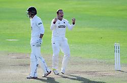 Roelof van der Merwe of Somerset celebrates the wicket of Mark Stoneman.  - Mandatory by-line: Alex Davidson/JMP - 05/08/2016 - CRICKET - The Cooper Associates County Ground - Taunton, United Kingdom - Somerset v Durham - County Championship - Day 2
