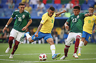 Gabriel Jesus of Brazil and Hector Herrera, Jesus Gallardo of Mexico during the 2018 FIFA World Cup Russia, round of 16 football match between Brazil and Mexico on July 2, 2018 at Samara Arena in Samara, Russia - Photo Thiago Bernardes / FramePhoto / ProSportsImages / DPPI