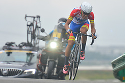 September 15, 2017 - Chenghu City, United States - Akramjon Sunnatov from Beijin XDS-Innova Cycling team during the fourth stage of the 2017 Tour of China 1, the 3.3 km Chenghu Jintang individual time trial. .On Friday, 15 September 2017, in Jintang County, Chenghu City,  Sichuan Province, China. (Credit Image: © Artur Widak/NurPhoto via ZUMA Press)
