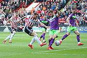 Sheffield Utd forward Billy Sharp (10) with an early chance during the EFL Sky Bet Championship match between Sheffield United and Bristol City at Bramall Lane, Sheffield, England on 30 March 2019.