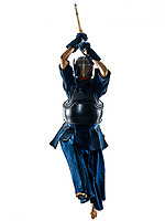 one woman  Kendo martial arts fighters combat fighting in silhouette isolated on white bacground
