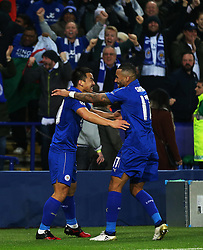 Shinji Okazaki of Leicester City celebrates with Danny Simpson after scoring the first goal - Mandatory by-line: Matt McNulty/JMP - 22/11/2016 - FOOTBALL - King Power Stadium - Leicester, England - Leicester City v Club Brugge - UEFA Champions League