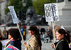 Licensed to London News Pictures 17/10/2013<br /> London. UK. <br /> Teachers on strike march through Trafalgar Square, protesting against a government decision to not give teachers a pay rise. <br /> Photo credit: Anna Branthwaite/LNP