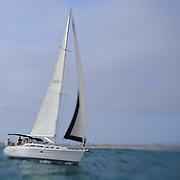 Sailboat Go Time Under Full Sail - Newport Beach, CA - Lensbaby