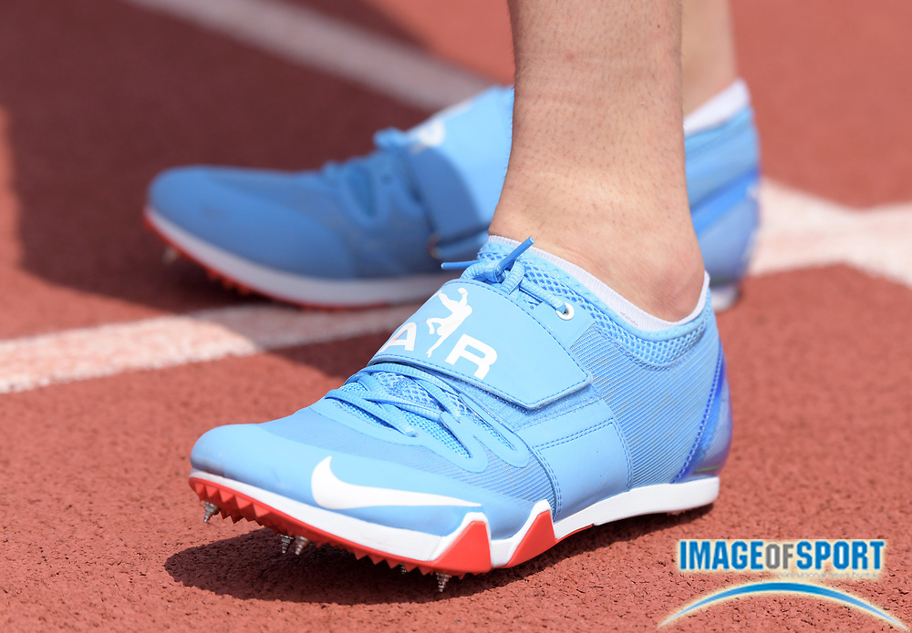 Mar 31, 2018; Austin, TX, USA; Nike spikes of Renaud Lavillenie (FRA) during the pole vault at the 91st Clyde Littlefield Texas Relays at Mike A. Myers Stadium.