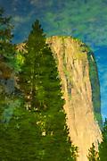 Reflection of El Capitan on the Merced River. Yosemite National Park, California.