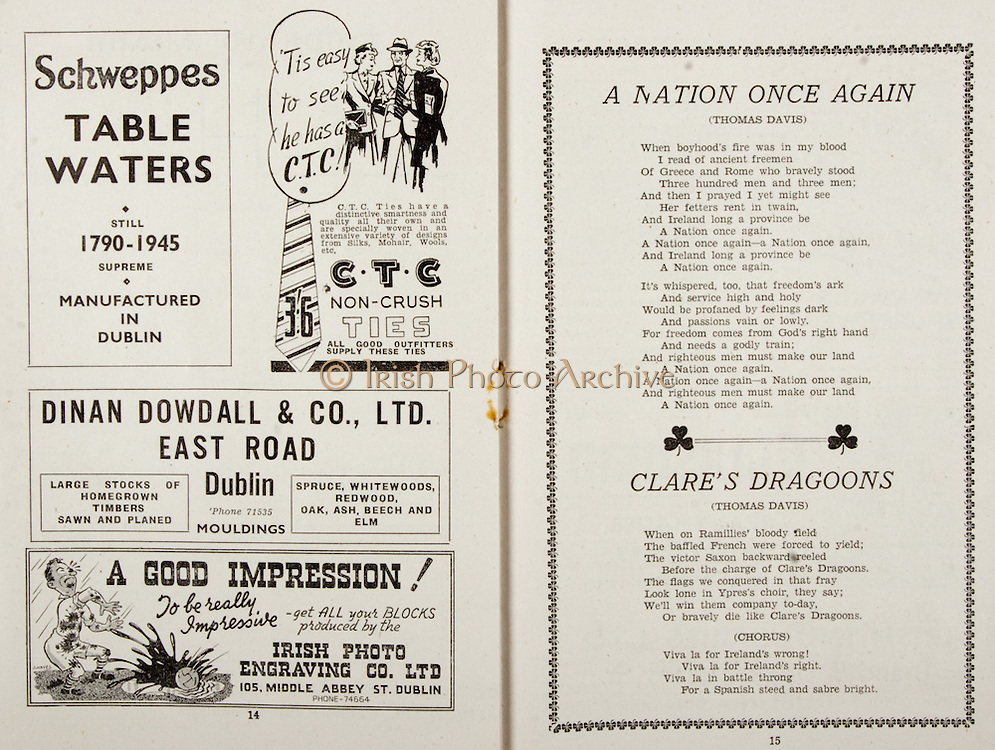 All Ireland Senior Hurling Championship Final,.Brochures,.02.09.1945, 09.02.1945, 2nd September 1945,.Tipperary 5-6, Kilkenny 3-6, .Minor Dublin v Tipperary, .Senior Tipperary v Kilkenny, .Croke Park, ..Advertisements, Schweppes Table Waters, CTC Non-Crush Ties, Dinan Dowdall & Co Ltd East Road Dublin, Irish Photo Engraving Co Ltd, ..Songs, A Nation Once Again, Clare's Dragoons,