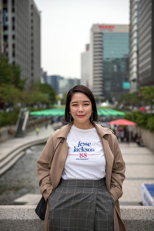 Hanna, age 25, wearing a t-shirt that harkens back to an old presidential campaign season: Jesse Jackson '88. Photographed in Seoul, South Korea on September 27, 2019.