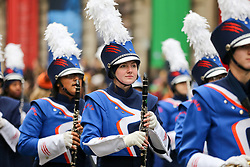© Licensed to London News Pictures. 01/01/2020. London, UK. Members of the marching band during the London New Year's Day Parade in central London. Over 10,000 performers representing the London boroughs and countries from across the globe are parading from Piccadilly Circus to Parliament Square as tens of thousands of Londoners and tourists line the route. Every year, dancers, acrobats, cheerleaders, marching bands, historic vehicles and more assemble in the heart of the capital for a colourful celebration of contemporary performances and traditional pomp and ceremony. Photo credit: Dinendra Haria/LNP