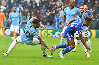 Football - 2018 / 2019 Premier League - Cardiff City vs. Manchester City<br /> <br /> Bobby Reid of Cardiff City & Nicolás Otamendi of Manchester City, at Cardiff City Stadium.<br /> <br /> COLORSPORT/WINSTON BYNORTH