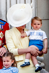Duchess of Cambridge, Princess Charlotte and Prince Louis. British Royal family on the balcony during celebration of the Trooping the Colour in London, UK, on June 08, 2019. Meghan Duchess of Sussex Princess Meghan Markle and Prince Harry British Royal Family at Trooping the Colour Queen Elizabeth, The Prince of Wales Charles, The Duchess of Cornwall Camilla, The Duke and Duchess of Cambridge, Prince George, Princess Charlotte Prince Louis Arthur Charles , Prince Andrew and Princess Anne in London, United Kingdom, trooping the colour , The annual trooping the color is to honor the Queens official birthday. Photo by Robin Utrecht/ABACAPRESS.COM