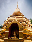 26 JUNE 2011 - CHIANG MAI, THAILAND: The golden stupa at Wat Pan On in Chiang Mai, Thailand. It was built by Lanna King Phra Muang Kaeo's reign in 1501. It was constructed when at the height of the Lanna empire, when it was prospering with arts and culture.    PHOTO BY JACK KURTZ