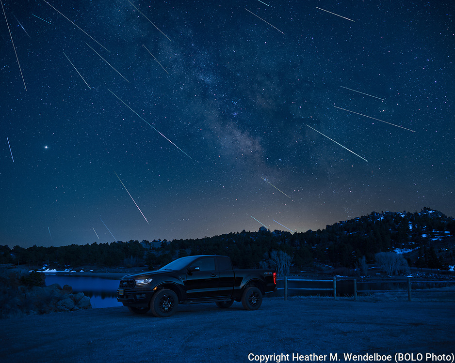 """BOLO Photo<br /> Wild West Automotive Photography<br /> 2020 Lyrid Meteor Shower<br /> """"Alone Together""""<br /> April 21-22, 2020: North Causeway Campground in Curt Gowdy State Park, Wyoming<br /> (2020 Ford Ranger: Heather Wendelboe)"""