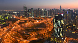 February 6, 2018 - Dubai, United Arab Emirates - A panoramic evening view of Dubai Marina area, seen from the Media One Hotel. .On Tuesday, February 6, 2018, in Dubai, United Arab Emirates. (Credit Image: © Artur Widak/NurPhoto via ZUMA Press)