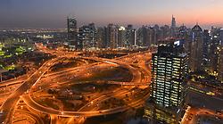 February 6, 2018 - Dubai, United Arab Emirates - A panoramic evening view of Dubai Marina area, seen from the Media One Hotel. .On Tuesday, February 6, 2018, in Dubai, United Arab Emirates. (Credit Image: © Artur Widak/NurPhoto via ZUMA Press)