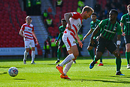 James Coppinger of Doncaster Rovers (26) back-heels the ball during the EFL Sky Bet League 1 match between Doncaster Rovers and Coventry City at the Keepmoat Stadium, Doncaster, England on 4 May 2019.